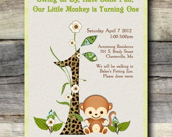 Adorable Monkey Birthday Invitations - 12 printed invitations with colored envelope
