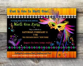Mardi Gras Invitation - 12 printed cards with envelope