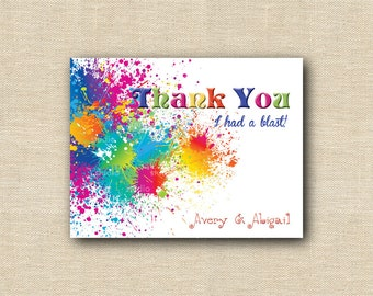 Art Paint Splat Thank You Cards - 12 printed cards