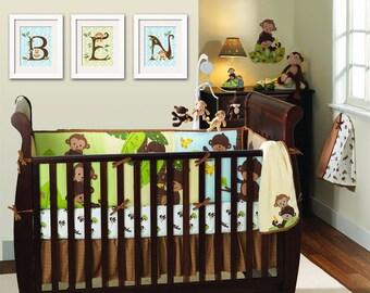 Jungle Monkey Wall Art- Baby Nursery Prints, Custom Letter Monogram