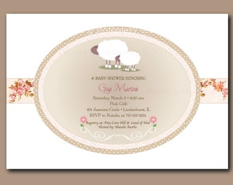 Little Lamb Baby Shower  Invitations -PRINTED INVITATIONS - Sold in packs of 10 includes envelope