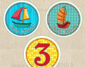 Sailboat Cupcake Toppers - Fully Assembled (12)