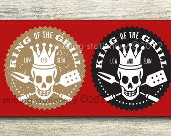 Barbecue - Grill Skull Low and Slow stickers mailing labels