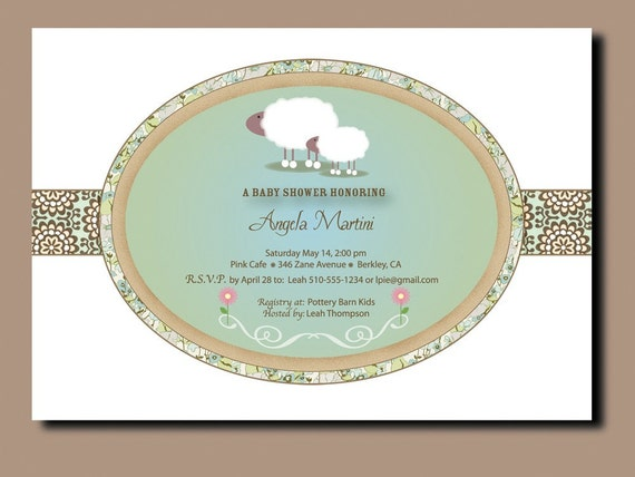 little lamb baby shower invitations by gigimariestationery
