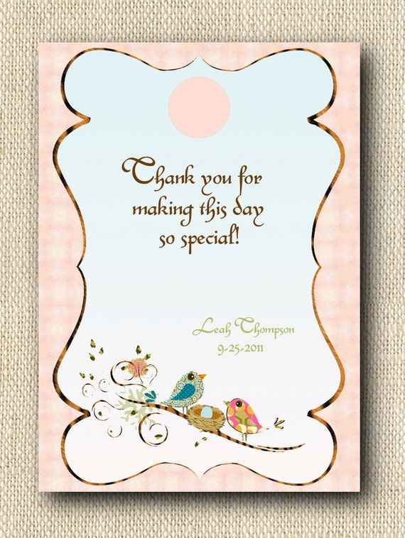Baby Gift Labels : Baby shower gift tags or labels love birds feathering the