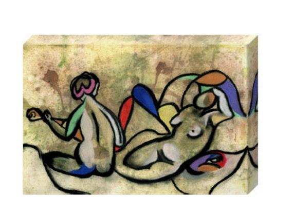 The Bathers - Contemporary Art Mixed Media STRETCHED CANVAS PRINT