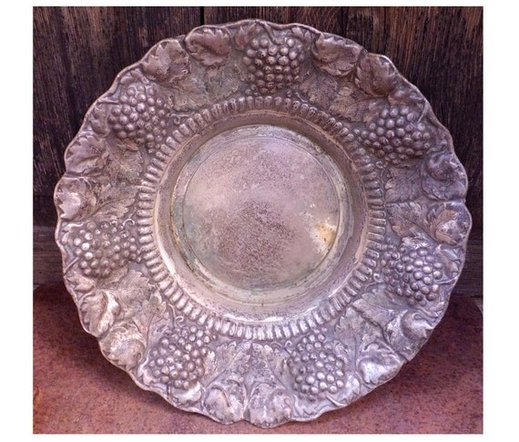 Vintage metal dish with grapes and grapevine decoration