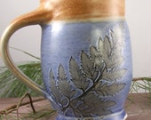Mug in Blue Garden Fern Pattern
