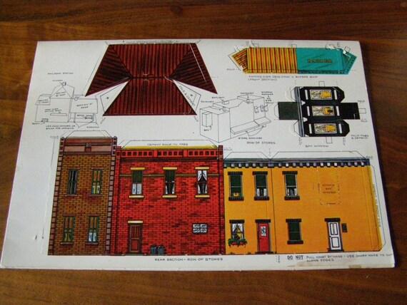 1930 Town HO Scale Cutout Buildings