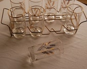 11 -1960's gold rimmed wheat drinking glasses