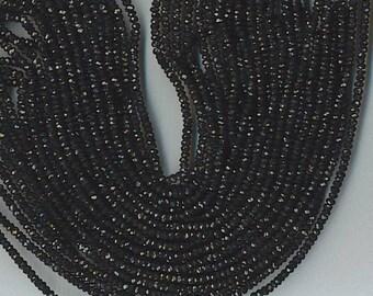 """14"""" strand 4mm faceted BLACK SPINEL rondelles  -  so sparkly -"""