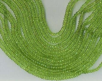 14.5 inch Strand 3.5mm FACETED PERIDOT RONDELLE Beads