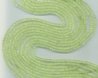 """14"""" Strand 4mm Faceted Prehnite Rondelle Beads"""
