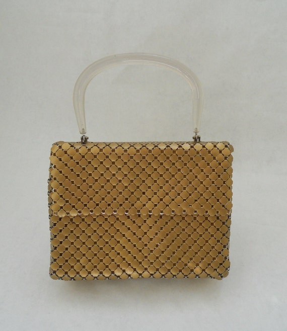 Gold Vintage Whiting & Davis Evening Bag Gold Mesh with Lucite Handle On Sale