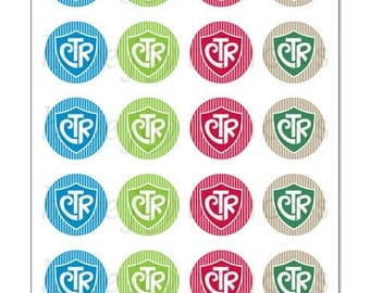 CTR (shield & stripe design) - 1 inch Graphic Rounds in Printable 5x7 Collage Sheet