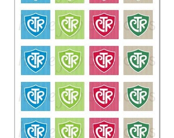 CTR (shield & stripe design) - 1x1 inch Graphic Squares in Printable 5x7 Collage Sheet