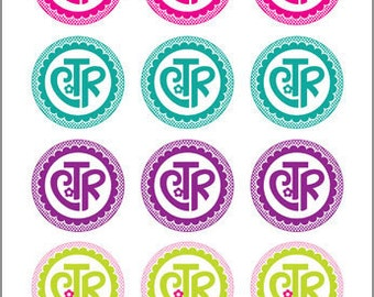 CTR (flower design) - 2 inch Graphic Rounds in Printable 8x10 Collage Sheet