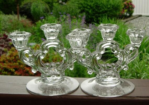 Pair Vintage 3-Lite Candle Holders Candelabras Elegant Depression Glass 1950s