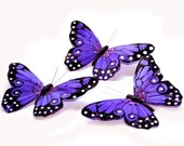 3 Large Purple Viceroy Butterflies for Hair Pins, Favors, Wedding Cakes