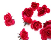 12 Tiny Fucshia Pink Silk Roses - Artificial Flowers, Silk Roses