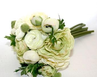 1 Green and Cream Silk Ranunculus Bouquet - Artificial Flowers, Silk Flowers