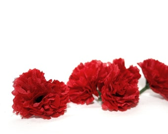 10 Valentine Red Baby Carnations - Artificial Flowers