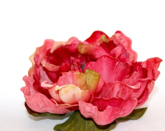 3 Large Strawberry Shortcake Pink Peony - Boutique Style - Artificial Flower, Silk Flower Head- PRE-ORDER - save 15%