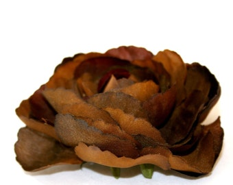 1 Brown Silk Ranunculus - Artificial Flowers, Silk Flower Heads