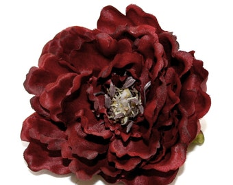 1 Large Artificial Silk Peony in Dark Burgundy - Boutique Style - PRE-ORDER