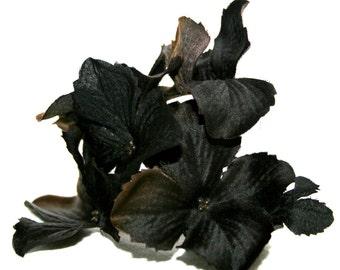 1 Small Black/Brown Silk Hydrangea Bunch - Artificial Flowers, Silk Blossoms