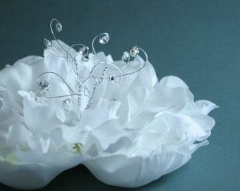 Bridal Hair Peony - White Silk Embellished Peony -  Silk Flowers, Artiticial Flowers