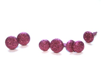 7 Pink Sparkle Brad Embellishments - Scrapbooking, Flower Middles