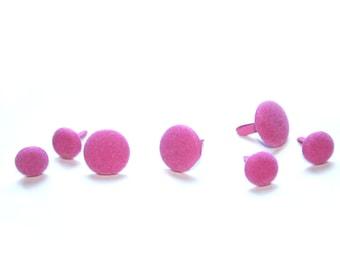 7 Pink Fuzzy Button Brad Embellishments - Scrapbooking, Flower Middles