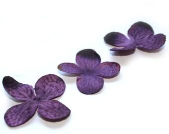 20 Hydrangea Blossoms in Purple - Artificial Silk Flower - PRE-ORDER
