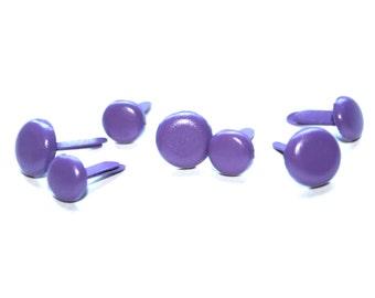 7 Lavender Button Brad Embellishments - Scrapbooking, Flower Middles