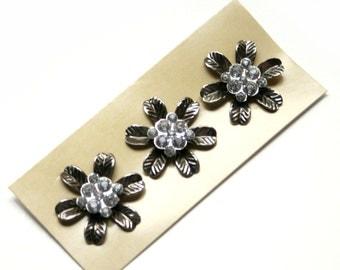 3 Vintage Look Crystal Flower Middles - Scrapbooking, Brads