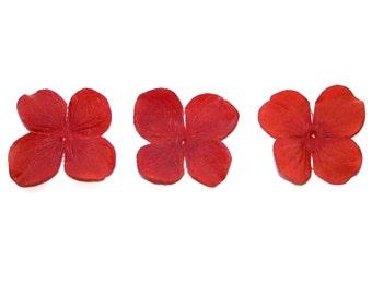 20 Artificial Silk Hydrangea Blossoms in Rich Orange - Artificial Flowers, Silk Blossoms PRE-ORDER
