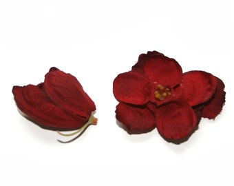 Delphinium Buds -  12 in Deep Red- Usable petals - Silk Flowers