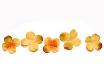 20 Artificial Silk Hydrangea Blossoms in Deep Orange Yellow - Artificial Flowers, Silk Blossoms - PRE-ORDER