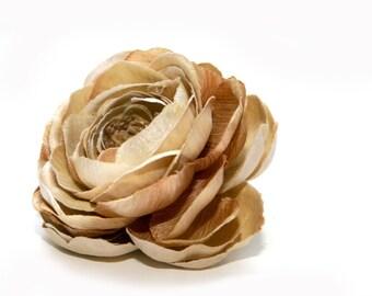 1 Light Mocha Creme Silk Ranunculus - Artificial Flowers - Limited Quantities