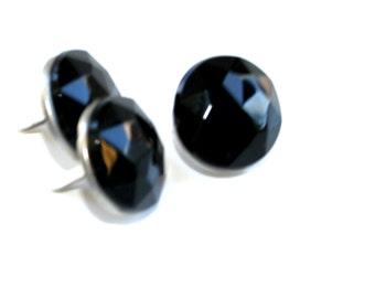 3 Black Crystal Brad Embellishments - Scrapbooking, Flower Middles