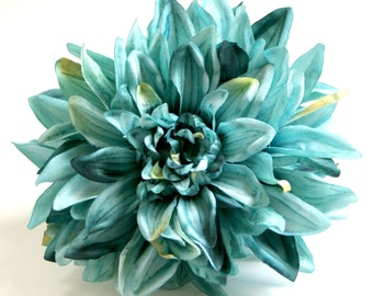 1 ENORMOUS Turquoise Silk Dahlia - Artificial Flower - PRE-ORDER