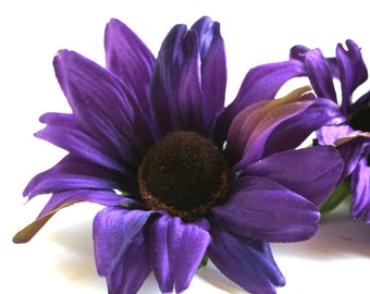 3 Purple Black Eyed Susan or Rudbecka - Artificial Flowers