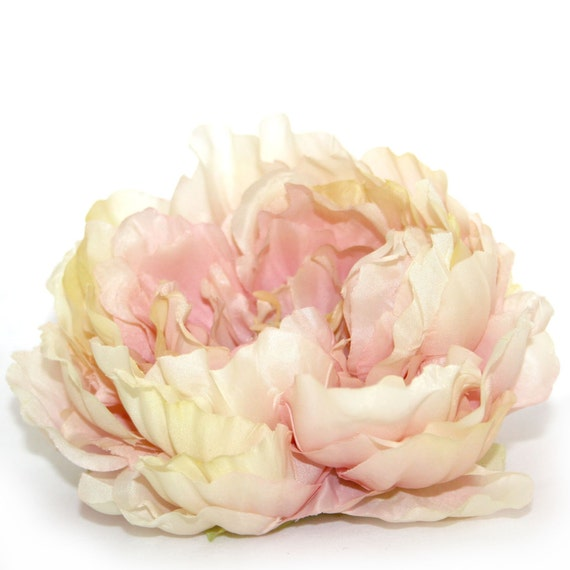 1 Artificial Silk Peony in Rose Cream - Artificial Flowers, Silk Flower Heads