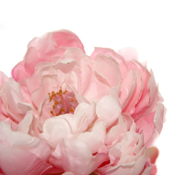 1 Creamy Pink Silk Peony - Artificial Flowers, Silk Flower Heads
