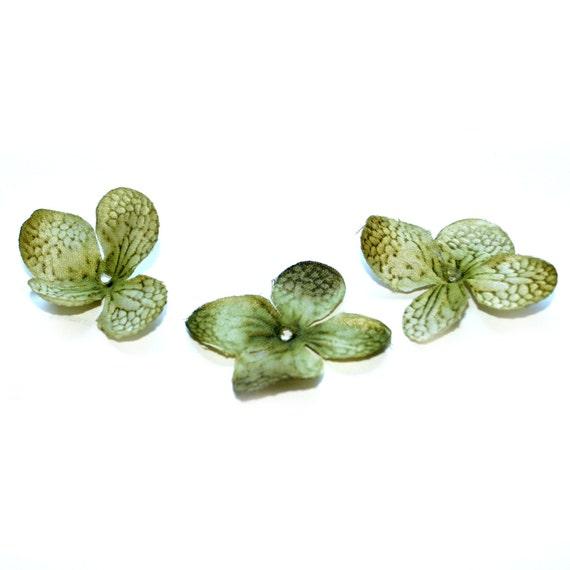 20 Silk Hydrangea Blossoms in Olive Green - Artificial Flowers, Silk Blossoms - PRE-ORDER