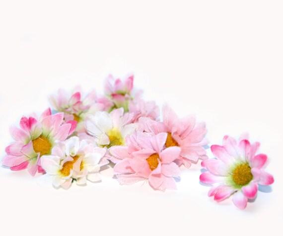 Baby Silk Daisies - 50 Cream Pink - Artificial Flowers, Silk Flowers, Blossoms