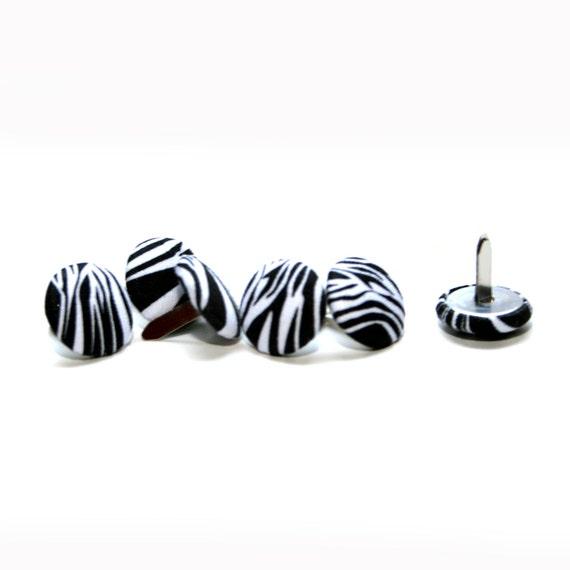 6 Zebra Stripe Button Brads - Scrapbooking, Flower Middles
