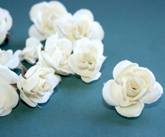 12 Tiny Cream Silk Roses - Artificial Flowers, Silk Roses PRE-ORDER