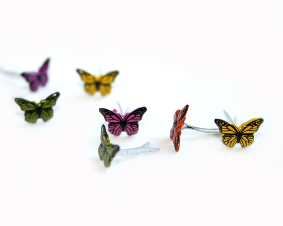 12 Teeny Tiny Butterfly Brad Embellishments - Scrapbooking, Flower Middles